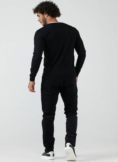 Sementa Erkek V Yaka Düğmeli Triko Hırka - Siyah Siyah